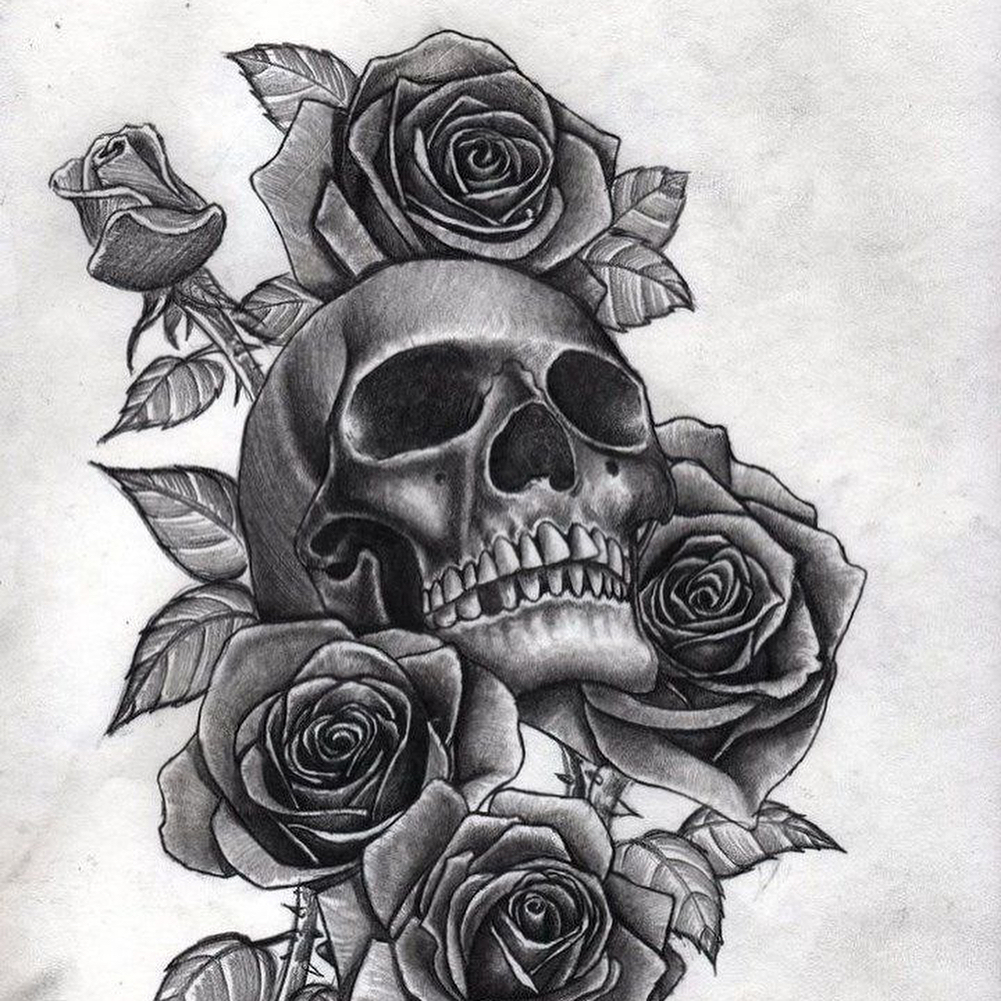 295 on Skull And Roses Tattoo For S